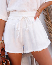 Sumner Cotton Pocketed Frayed Shorts - White view 3