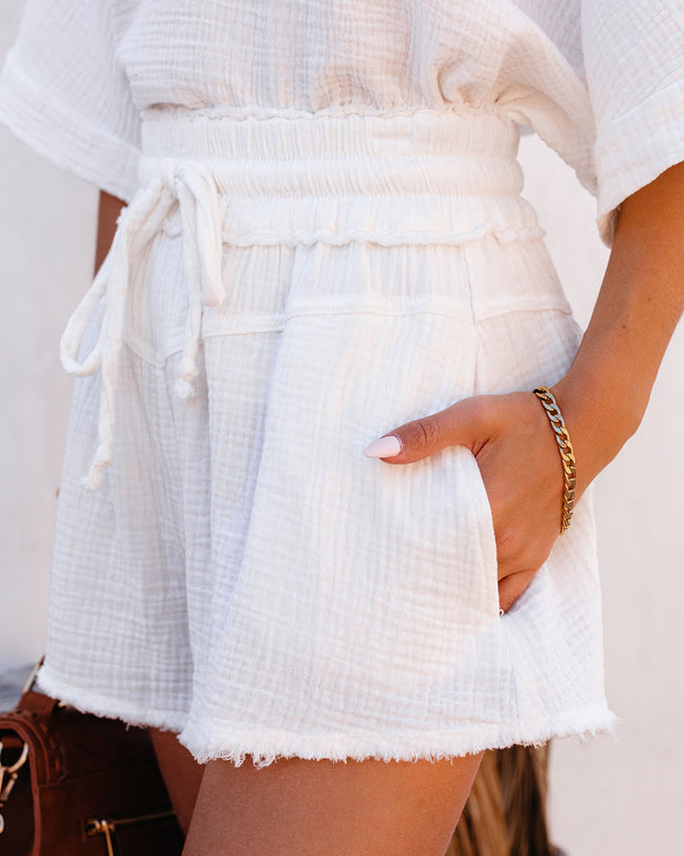 Sumner Cotton Pocketed Frayed Shorts - White view 6