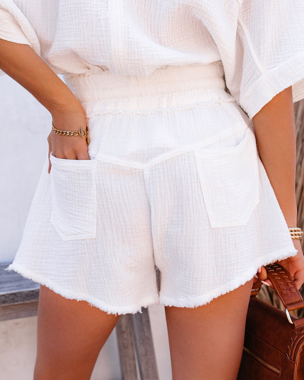 Sumner Cotton Pocketed Frayed Shorts - White view 2
