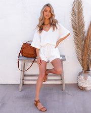 Sumner Cotton Pocketed Frayed Shorts - White view 9