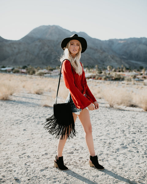 Winona Leather Fringe Crossbody Bag - Black