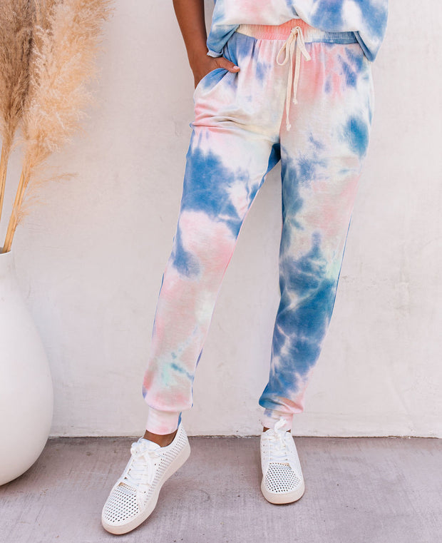 Sun Drenched Pocketed Tie Dye Knit Joggers - FINAL SALE view 12