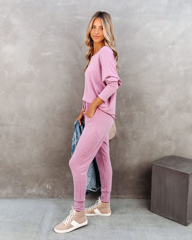 Sunday Mornings Pocketed Knit Joggers - Berry - FINAL SALE