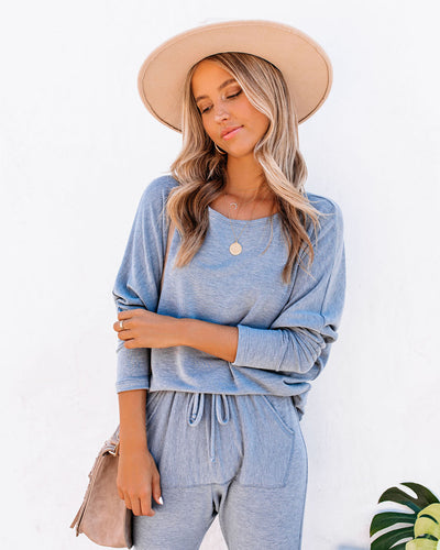 Sunday Mornings Dolman Knit Top - Grey Blue - FINAL SALE