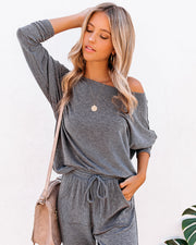 Sunday Mornings Dolman Knit Top - Charcoal
