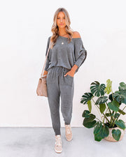 Sunday Mornings Pocketed Knit Joggers - Charcoal - FINAL SALE
