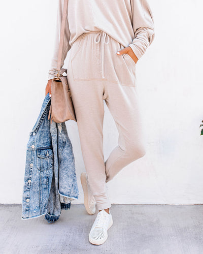 Sunday Mornings Pocketed Knit Joggers - Taupe - FINAL SALE