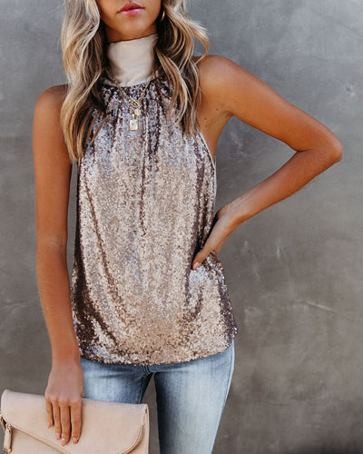 Surprise Sequin Satin Halter Top - Champagne
