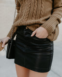 Burn The Midnight Oil Faux Leather Pocketed Skirt