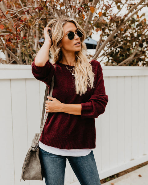 Sweet Salutation Sweater - Wine - FINAL SALE