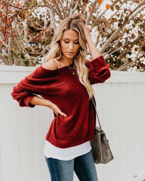 Sweet Salutation Sweater - Burgundy - FINAL SALE