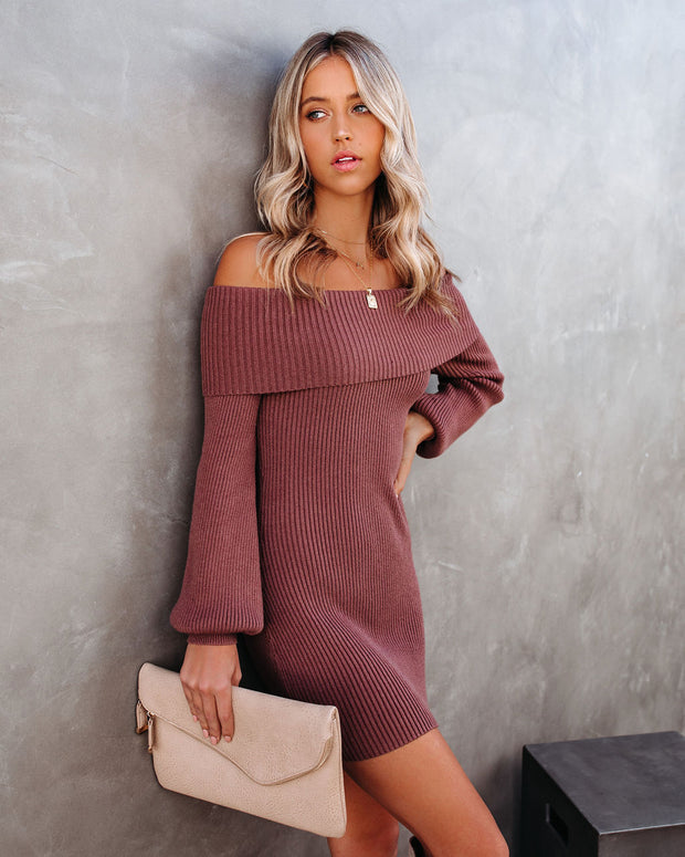 Tammy Off The Shoulder Ribbed Knit Sweater Dress - Cinnamon - FINAL SALE view 1
