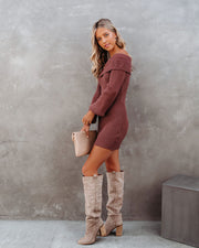 Tammy Off The Shoulder Ribbed Knit Sweater Dress - Cinnamon - FINAL SALE view 7