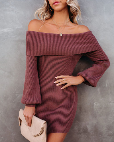 Tammy Off The Shoulder Ribbed Knit Sweater Dress - Cinnamon