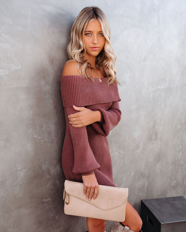 Tammy Off The Shoulder Ribbed Knit Sweater Dress - Cinnamon - FINAL SALE view 6