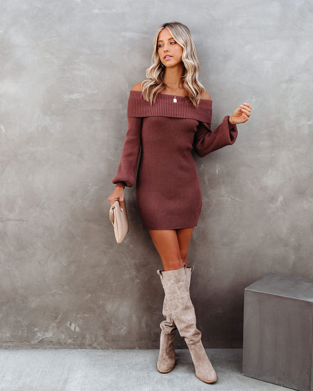 Tammy Off The Shoulder Ribbed Knit Sweater Dress - Cinnamon - FINAL SALE view 5