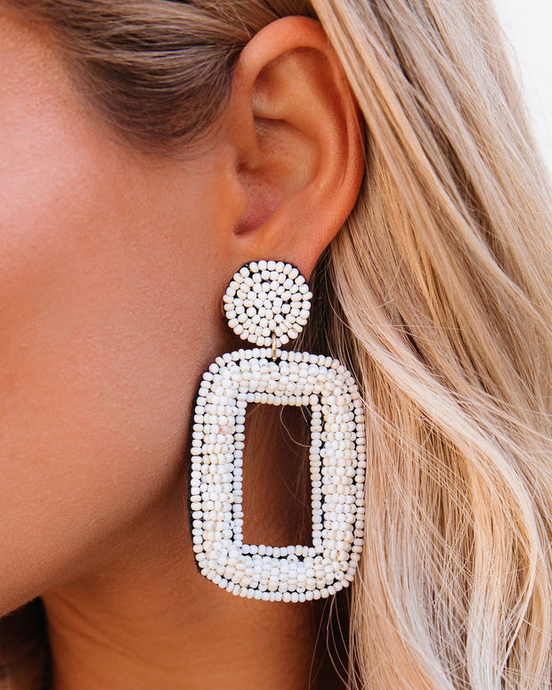 Tao Beaded Statement Earrings - Ivory view 1