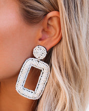Tao Beaded Statement Earrings - Ivory view 3