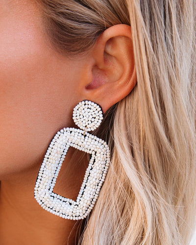 Tao Beaded Statement Earrings - Ivory
