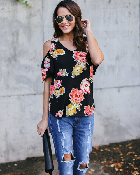 Flower Child Cold Shoulder Top