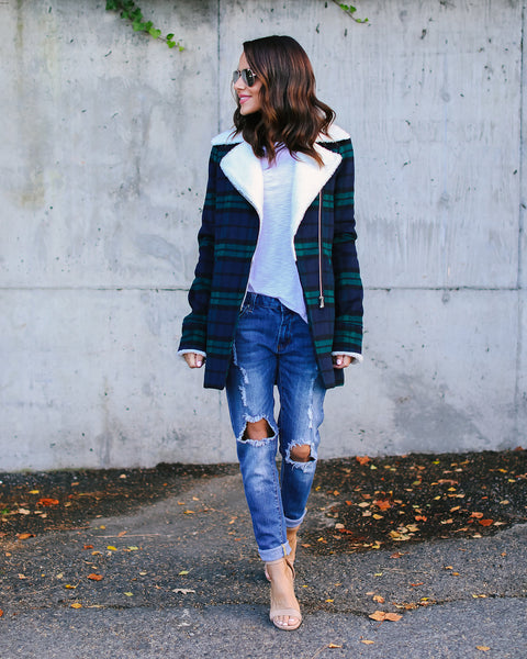 Bristol Plaid Sherpa Coat