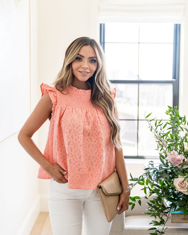 Tatum Smocked Lace Babydoll Top - Coral view 3