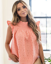 Tatum Smocked Lace Babydoll Top - Coral view 9