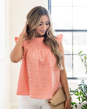 Tatum Smocked Lace Babydoll Top - Coral view 5