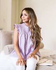 Tatum Smocked Lace Babydoll Top - Lilac view 1