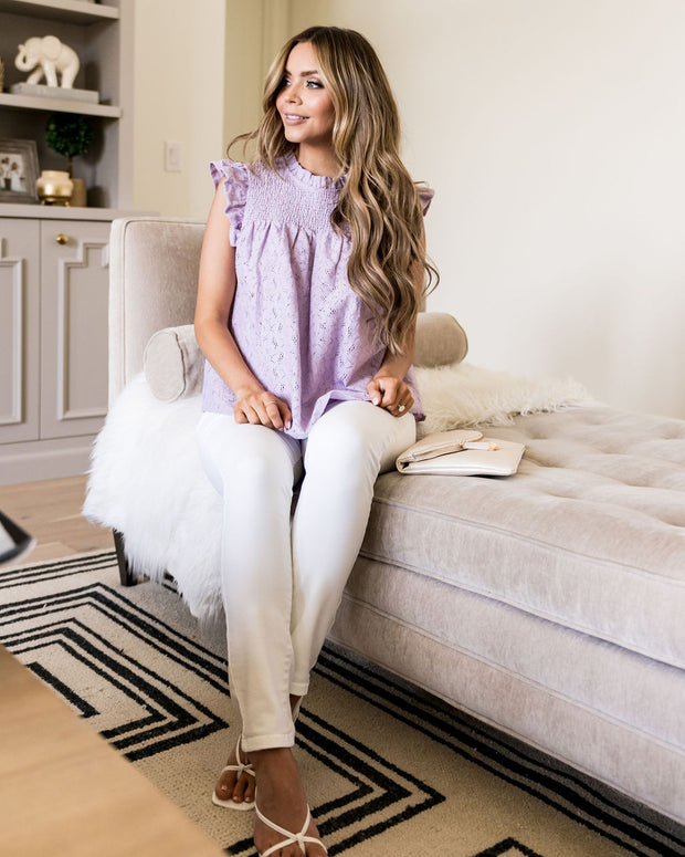 Tatum Smocked Lace Babydoll Top - Lilac view 11