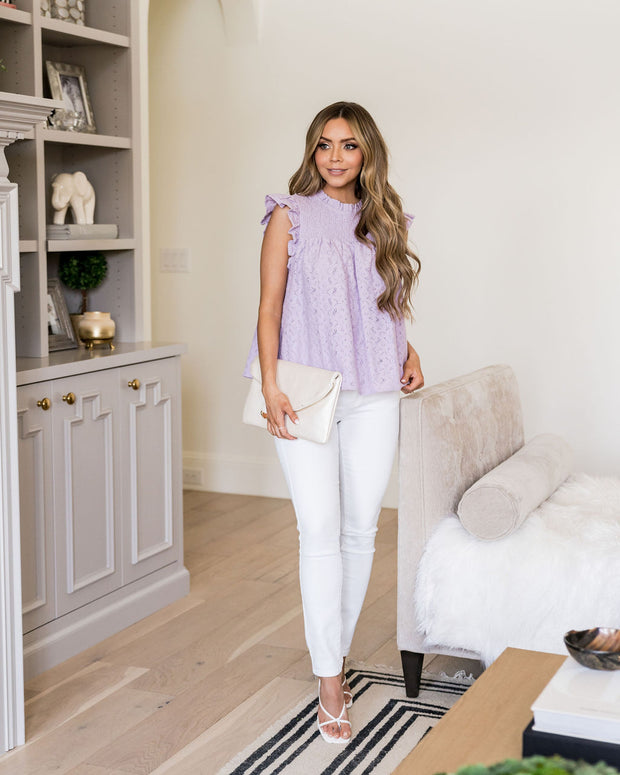 Tatum Smocked Lace Babydoll Top - Lilac view 3