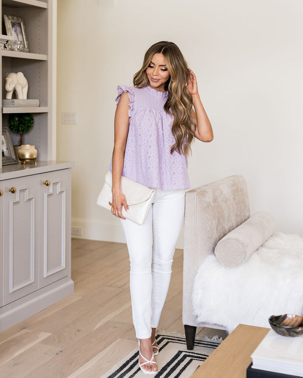 Tatum Smocked Lace Babydoll Top - Lilac view 7