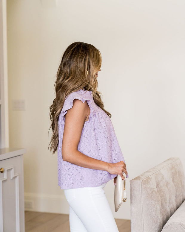 Tatum Smocked Lace Babydoll Top - Lilac view 9