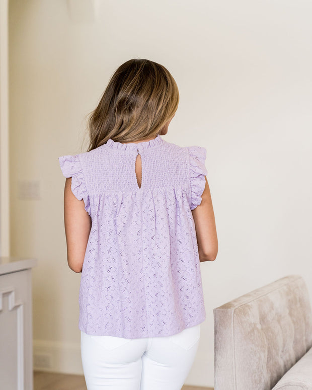 Tatum Smocked Lace Babydoll Top - Lilac view 2