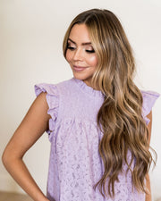 Tatum Smocked Lace Babydoll Top - Lilac view 12