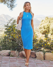 Tempting Ribbed Knit Midi Dress - Electric Blue view 3