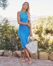 Tempting Ribbed Knit Midi Dress - Electric Blue view 7