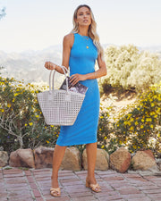 Tempting Ribbed Knit Midi Dress - Electric Blue view 1