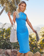Tempting Ribbed Knit Midi Dress - Electric Blue view 11
