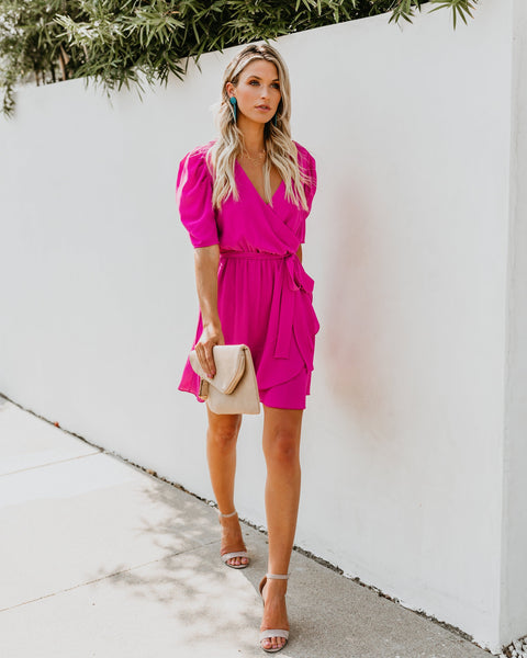 To The Max Wrap Dress - Fuchsia