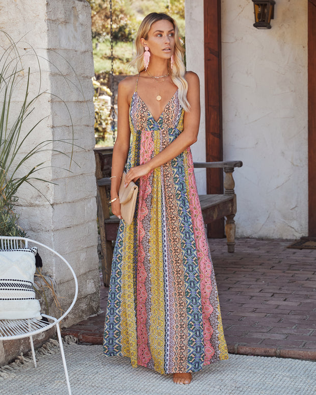 Turks + Caicos Printed Shimmer Maxi Dress - Pink Multi view 3