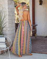 Turks + Caicos Printed Shimmer Maxi Dress - Pink Multi view 2