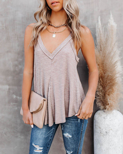 Tahira Cotton Blend V-Neck Tank - Light Mocha