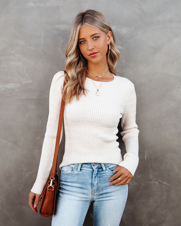 Tango Textured Knit Sweater Top - Oatmeal - FINAL SALE view 5