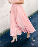 To The Moon + Back Pleated Dress - Blush