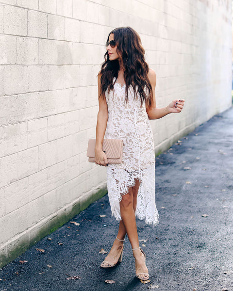 Soul Mate Lace Midi Dress - White