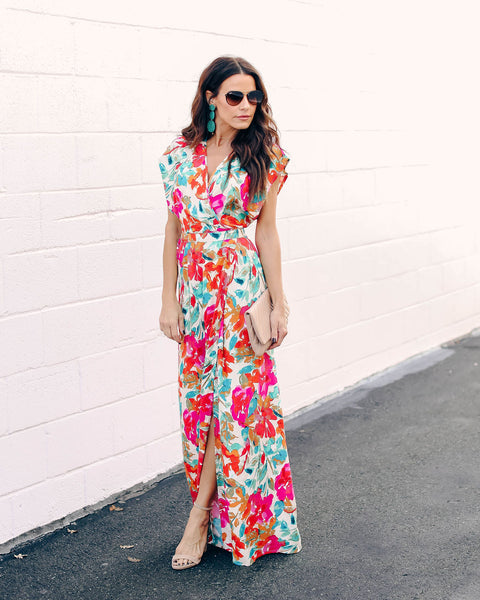 6891f8f1640d73 Costa Rica Floral Wrap Maxi Dress
