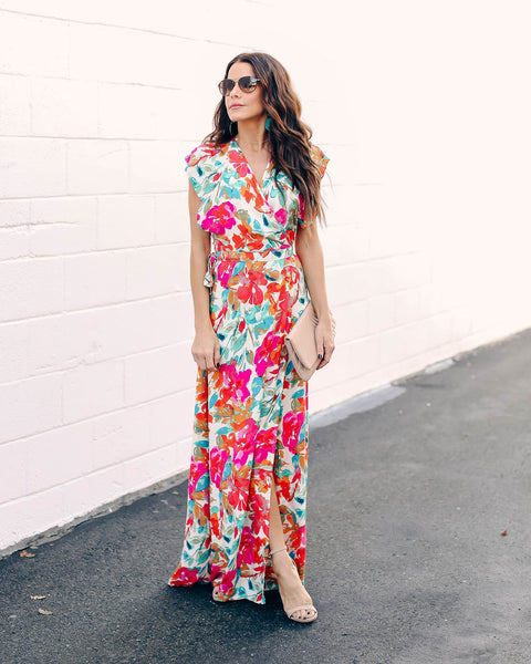 Costa Rica Floral Wrap Maxi Dress