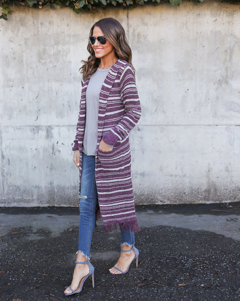 Rainy Road Striped Fringe Hooded Cardigan - FINAL SALE