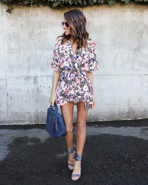 Ride Or Tied Floral Romper - FINAL SALE